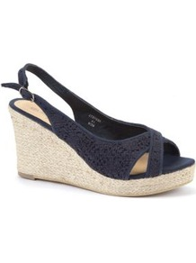 Wide Fit Navy Crochet Espadrille Wedges - predominant colour: navy; occasions: casual, evening, holiday; material: fabric; heel height: high; embellishment: embroidered; heel: wedge; toe: open toe/peeptoe; style: standard; finish: plain; pattern: plain