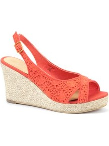 Wide Fit Coral Crochet Espadrille Wedges - predominant colour: coral; occasions: casual, holiday; material: fabric; heel height: high; embellishment: embroidered; heel: wedge; toe: open toe/peeptoe; style: slingbacks; trends: fluorescent; finish: plain; pattern: plain