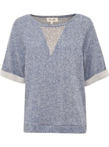 Blue Sparkle V Sweater T Shirt - neckline: round neck; pattern: plain; style: sweat top; predominant colour: denim; occasions: casual; length: standard; fibres: cotton - 100%; fit: straight cut; sleeve length: half sleeve; sleeve style: standard; pattern type: fabric; pattern size: standard; texture group: jersey - stretchy/drapey; embellishment: jewels