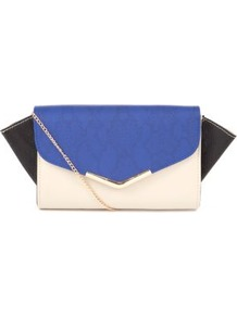 Blue Colour Block Winged Clutch - predominant colour: royal blue; occasions: evening, occasion; type of pattern: standard; style: clutch; length: hand carry; size: standard; material: faux leather; trends: modern geometrics; finish: plain; pattern: colourblock; embellishment: chain/metal