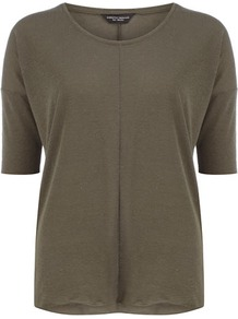 Khaki Seam Front Neppy Tee - neckline: round neck; sleeve style: raglan; pattern: plain; predominant colour: khaki; occasions: casual; length: standard; style: top; fibres: cotton - 100%; fit: body skimming; sleeve length: half sleeve; pattern type: fabric; texture group: jersey - stretchy/drapey