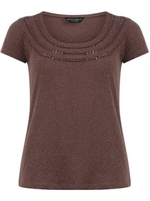 Fig Braid Front Tee - neckline: round neck; pattern: plain; bust detail: added detail/embellishment at bust; style: t-shirt; predominant colour: chocolate brown; occasions: casual, holiday; length: standard; fibres: viscose/rayon - 100%; fit: body skimming; sleeve length: short sleeve; sleeve style: standard; pattern type: fabric; texture group: jersey - stretchy/drapey; embellishment: sequins