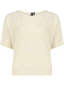 Cream Metallic Mesh Top - neckline: slash/boat neckline; pattern: plain; predominant colour: ivory; occasions: casual; length: standard; style: top; fibres: polyester/polyamide - stretch; fit: straight cut; sleeve length: short sleeve; sleeve style: standard; pattern type: fabric; texture group: other - light to midweight