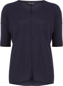 Navy Seam Front Tee - neckline: round neck; sleeve style: raglan; pattern: plain; style: t-shirt; predominant colour: navy; occasions: casual, work; length: standard; fibres: cotton - 100%; fit: straight cut; sleeve length: half sleeve; pattern type: fabric; texture group: jersey - stretchy/drapey