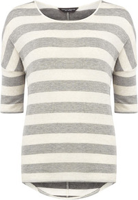 Grey/Ivory Seam Knit - neckline: round neck; pattern: horizontal stripes; style: standard; secondary colour: ivory; predominant colour: light grey; occasions: casual; length: standard; fibres: cotton - mix; fit: standard fit; back detail: longer hem at back than at front; sleeve length: half sleeve; sleeve style: standard; pattern type: fabric; pattern size: standard; texture group: jersey - stretchy/drapey
