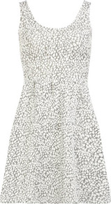 Silver Animal Jaquard Dress - length: mid thigh; sleeve style: sleeveless; waist detail: fitted waist; predominant colour: silver; occasions: casual, evening; fit: fitted at waist &amp; bust; style: fit &amp; flare; neckline: scoop; fibres: cotton - 100%; sleeve length: sleeveless; pattern type: fabric; pattern size: small &amp; busy; pattern: animal print; texture group: jersey - stretchy/drapey