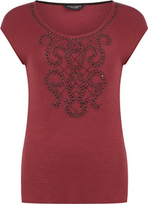 Fig Stud Front T Shirt - neckline: round neck; sleeve style: capped; bust detail: added detail/embellishment at bust; style: t-shirt; predominant colour: true red; occasions: casual; length: standard; fibres: cotton - 100%; fit: body skimming; sleeve length: short sleeve; texture group: jersey - clingy; pattern: patterned/print; embellishment: studs