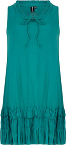 Green Layered Hem Dress - style: shift; neckline: round neck; pattern: plain; sleeve style: sleeveless; predominant colour: teal; occasions: casual, holiday; length: just above the knee; fit: straight cut; sleeve length: sleeveless; pattern type: fabric; texture group: jersey - stretchy/drapey; fibres: viscose/rayon - mix
