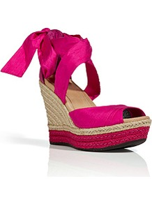 Raspberry Silk/Leather Lucianna Wedges - predominant colour: hot pink; occasions: casual, evening, holiday; material: fabric; heel height: high; ankle detail: ankle tie; heel: wedge; toe: open toe/peeptoe; style: standard; finish: plain; pattern: plain