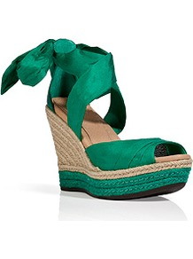 Green Silk/Leather Lucianna Wedges - predominant colour: emerald green; occasions: casual, evening, holiday; material: fabric; heel height: high; ankle detail: ankle tie; heel: wedge; toe: open toe/peeptoe; style: standard; finish: plain; pattern: plain