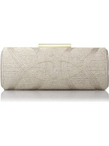 Piera Box Clutch Gold Soft Gold - predominant colour: gold; occasions: evening, occasion; type of pattern: light; style: clutch; length: hand carry; size: standard; material: fabric; finish: plain; pattern: patterned/print; embellishment: chain/metal