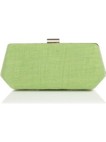 Apple Crinkle Clutch - predominant colour: lime; occasions: evening, occasion; type of pattern: standard; style: clutch; length: hand carry; size: small; material: fabric; pattern: plain; trends: fluorescent; finish: plain