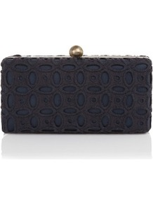 Broderie Anglaise Clutch Bag - predominant colour: black; occasions: evening, occasion; type of pattern: standard; style: clutch; length: hand carry; size: small; material: fabric; embellishment: embroidered; finish: plain; pattern: patterned/print