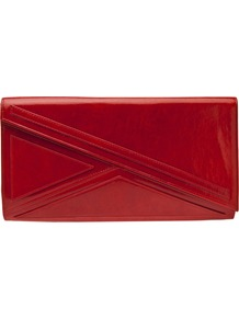 Asymmetrical Clutch - predominant colour: true red; occasions: evening, occasion; type of pattern: standard; style: clutch; length: hand carry; size: oversized; material: leather; pattern: plain; finish: plain