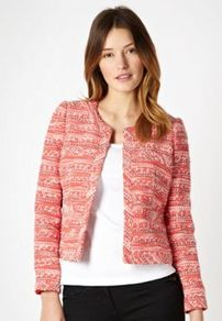 Red Collarless Tweed Jacket - style: single breasted blazer; collar: round collar/collarless; pattern: herringbone/tweed; predominant colour: coral; occasions: casual, evening, work, occasion; length: standard; fit: tailored/fitted; fibres: cotton - mix; sleeve length: long sleeve; sleeve style: standard; collar break: high; pattern type: fabric; pattern size: standard; texture group: tweed - light/midweight