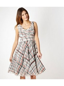 Designer Black Checked Chiffon Prom Dress - neckline: low v-neck; sleeve style: sleeveless; style: prom dress; pattern: checked/gingham; waist detail: twist front waist detail/nipped in at waist on one side/soft pleats/draping/ruching/gathering waist detail; bust detail: ruching/gathering/draping/layers/pintuck pleats at bust; occasions: evening, occasion; length: on the knee; fit: fitted at waist & bust; fibres: polyester/polyamide - 100%; predominant colour: multicoloured; sleeve length: sleeveless; texture group: sheer fabrics/chiffon/organza etc.; pattern type: fabric; pattern size: standard