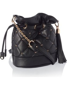 Designer Black Quilted Stud Drawstring Bag - predominant colour: black; occasions: casual; type of pattern: small; style: onion bag; length: across body/long; size: small; material: faux leather; embellishment: studs; pattern: plain; finish: plain