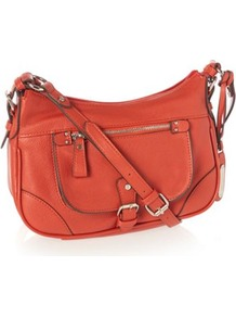 Designer Orange Buckle Flap Cross Body Bag - predominant colour: bright orange; occasions: casual; type of pattern: standard; style: shoulder; length: across body/long; size: small; material: faux leather; pattern: plain; finish: plain