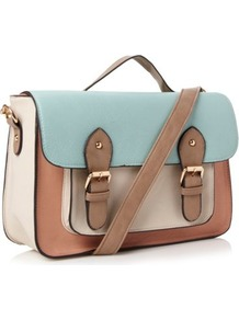 Peach Colour Blocked Satchel - predominant colour: pale blue; secondary colour: camel; occasions: casual, work; type of pattern: light; style: satchel; length: handle; size: standard; material: faux leather; finish: plain; pattern: colourblock; embellishment: buckles