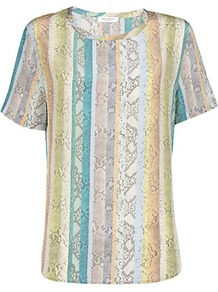 Riley Python Print Tee - neckline: round neck; pattern: vertical stripes; style: t-shirt; occasions: casual; length: standard; fibres: silk - 100%; fit: straight cut; predominant colour: multicoloured; sleeve length: short sleeve; sleeve style: standard; texture group: silky - light; pattern type: fabric; pattern size: standard