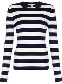 Striped Cashmere Sweater - pattern: horizontal stripes; style: standard; predominant colour: black; occasions: casual, work; length: standard; fit: standard fit; neckline: crew; fibres: cashmere - 100%; sleeve length: long sleeve; sleeve style: standard; texture group: knits/crochet; pattern type: fabric; pattern size: standard