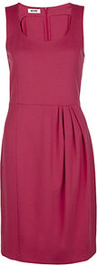 Scoop Neck Dress - style: shift; fit: tailored/fitted; pattern: plain; sleeve style: sleeveless; waist detail: fitted waist; predominant colour: hot pink; occasions: evening, work, occasion; length: just above the knee; neckline: scoop; fibres: viscose/rayon - stretch; hip detail: structured pleats at hip; sleeve length: sleeveless; texture group: crepes; pattern type: fabric