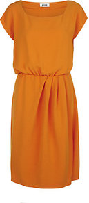 Gathered Waist Dress - style: shift; neckline: high square neck; fit: fitted at waist; pattern: plain; waist detail: twist front waist detail/nipped in at waist on one side/soft pleats/draping/ruching/gathering waist detail; predominant colour: mustard; occasions: evening, work, occasion; length: on the knee; fibres: polyester/polyamide - mix; hip detail: soft pleats at hip/draping at hip/flared at hip; sleeve length: short sleeve; sleeve style: standard; texture group: silky - light; trends: glamorous day shifts; pattern type: fabric; pattern size: standard