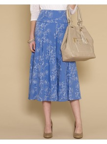 Octavia All Over Embroidered Skirt - length: calf length; fit: body skimming; waist detail: wide waistband/cummerbund; waist: high rise; predominant colour: indigo; occasions: casual, work, holiday; style: fit & flare; fibres: cotton - 100%; hip detail: soft pleats at hip/draping at hip/flared at hip; texture group: cotton feel fabrics; pattern type: fabric; pattern size: small & light; pattern: florals; embellishment: embroidered