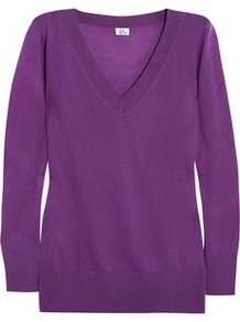 Cashmere Sweater - neckline: v-neck; pattern: plain; style: standard; predominant colour: purple; occasions: casual, work; length: standard; fit: standard fit; fibres: cashmere - 100%; sleeve length: long sleeve; sleeve style: standard; texture group: knits/crochet; pattern type: knitted - fine stitch; pattern size: standard
