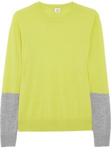 Color Block Cashmere Sweater - style: standard; predominant colour: yellow; occasions: casual, work; length: standard; fit: standard fit; neckline: crew; fibres: cashmere - 100%; sleeve length: long sleeve; sleeve style: standard; texture group: knits/crochet; trends: fluorescent; pattern type: knitted - fine stitch; pattern size: big & light; pattern: colourblock