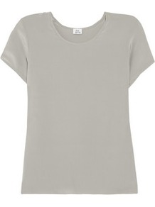 Silk T Shirt - neckline: round neck; pattern: plain; style: t-shirt; predominant colour: light grey; occasions: casual, evening, work, holiday; length: standard; fibres: silk - 100%; fit: straight cut; sleeve length: short sleeve; sleeve style: standard; texture group: silky - light; pattern type: fabric