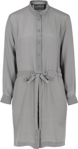 Lounge Lovers Grey Dress - style: shirt; neckline: shirt collar/peter pan/zip with opening; pattern: plain; waist detail: belted waist/tie at waist/drawstring; back detail: contrast pattern/fabric at back; predominant colour: mid grey; occasions: casual; length: just above the knee; fit: straight cut; fibres: silk - 100%; sleeve length: long sleeve; sleeve style: standard; texture group: silky - light; pattern type: fabric; pattern size: standard