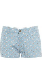 Otrot Floral Print Shorts - style: shorts; pocket detail: small back pockets, pockets at the sides; length: short shorts; waist: mid/regular rise; predominant colour: pale blue; occasions: casual, holiday; fibres: cotton - 100%; hip detail: fitted at hip (bottoms); waist detail: narrow waistband; texture group: cotton feel fabrics; fit: slim leg; pattern type: fabric; pattern size: small & light; pattern: florals
