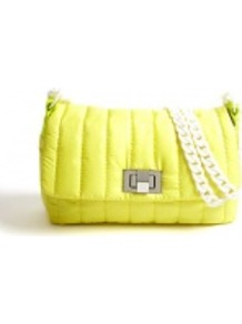 Nylon Quilted Mahai Clutch Bag - predominant colour: yellow; occasions: casual, evening; style: clutch; length: hand carry; size: small; material: fabric; embellishment: quilted; pattern: plain; trends: fluorescent; finish: fluorescent
