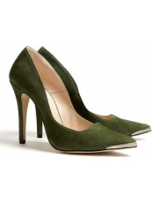 Marina Suede Skinny Stiletto Court Shoes - predominant colour: dark green; occasions: casual, evening, work, occasion; material: suede; heel height: high; heel: stiletto; toe: pointed toe; style: courts; finish: plain; pattern: plain; embellishment: chain/metal