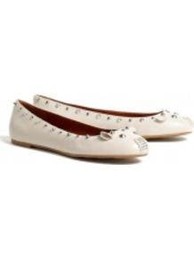 Oatmeal Nuova Love Studded Mouse Ballet Pumps Marc Mar - predominant colour: white; occasions: casual, work; material: leather; heel height: flat; embellishment: studs; toe: round toe; style: ballerinas / pumps; finish: plain; pattern: plain