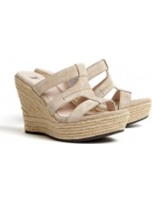Sand Tawnie Raffia Wedge Sandals - predominant colour: stone; occasions: casual, holiday; material: leather; heel height: high; heel: wedge; toe: open toe/peeptoe; style: strappy; finish: plain; pattern: plain