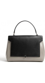 Bathurst Bow Leather Satchel Bag - predominant colour: black; occasions: casual, evening, work; type of pattern: light; style: structured bag; length: handle; size: standard; material: leather; finish: plain; pattern: colourblock