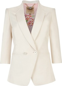 Ted Baker Meeda Double Breasted Blazer - pattern: plain; style: double breasted blazer; length: below the bottom; collar: standard lapel/rever collar; predominant colour: ivory; occasions: casual, evening, work, occasion; fit: tailored/fitted; fibres: polyester/polyamide - stretch; waist detail: fitted waist; back detail: back vent/flap at back; sleeve length: 3/4 length; sleeve style: standard; texture group: cotton feel fabrics; trends: tuxedo; collar break: medium; pattern type: fabric; pattern size: standard