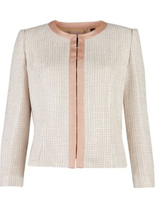 Ted Baker Honeste Cropped Jacket - pattern: plain; style: cropped; collar: round collar/collarless; length: cropped; predominant colour: ivory; occasions: casual, evening, work, occasion; fit: straight cut (boxy); fibres: acrylic - mix; sleeve length: 3/4 length; sleeve style: standard; texture group: knits/crochet; collar break: high; pattern type: fabric; pattern size: small & light