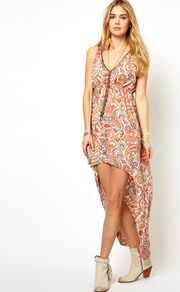 Printed Dress With High Lo Hem - length: mid thigh; neckline: low v-neck; pattern: plain; sleeve style: sleeveless; style: maxi dress; bust detail: added detail/embellishment at bust; waist detail: fitted waist; occasions: casual, evening, holiday; fit: body skimming; fibres: polyester/polyamide - 100%; hip detail: soft pleats at hip/draping at hip/flared at hip; back detail: longer hem at back than at front; predominant colour: multicoloured; sleeve length: sleeveless; pattern type: fabric; pattern size: small &amp; busy; texture group: other - light to midweight; embellishment: beading
