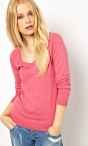Basic V Neck Jumper - neckline: low v-neck; pattern: plain; style: standard; predominant colour: pink; occasions: casual; length: standard; fibres: cotton - mix; fit: standard fit; sleeve length: long sleeve; sleeve style: standard; pattern type: fabric; pattern size: standard; texture group: jersey - stretchy/drapey