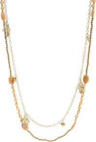 Two Row Rope Chain And Bead Necklace - predominant colour: gold; occasions: casual, holiday; style: multistrand; length: long; size: small; material: chain/metal; finish: plain; embellishment: beading