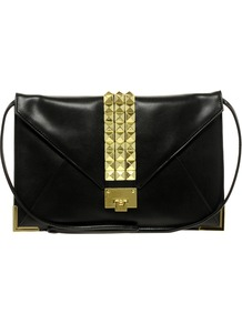 Clutch Bag With Studded Strap - predominant colour: black; occasions: casual, evening, occasion; type of pattern: standard; style: shoulder; length: across body/long; size: oversized; material: faux leather; embellishment: studs; pattern: plain; finish: plain
