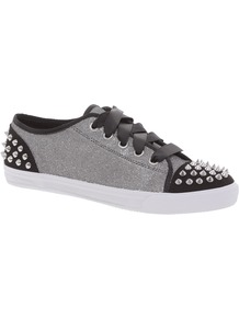 Kg Liberal Studded Trainers - predominant colour: light grey; occasions: casual, work, holiday; material: fabric; heel height: flat; embellishment: studs; toe: round toe; style: trainers; trends: sporty redux, metallics; finish: metallic; pattern: two-tone
