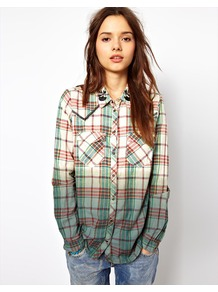 Check &amp; Dip Western Shirt - neckline: shirt collar/peter pan/zip with opening; pattern: checked/gingham; style: shirt; predominant colour: emerald green; occasions: casual; length: standard; fibres: cotton - 100%; fit: loose; sleeve length: long sleeve; sleeve style: standard; pattern type: fabric; pattern size: standard; texture group: woven light midweight; embellishment: embroidered