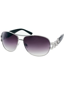 Sienna Aviator Sunglasses - predominant colour: silver; occasions: casual, evening, work, holiday; style: aviator; size: large; material: chain/metal; embellishment: studs; pattern: plain; trends: metallics; finish: metallic