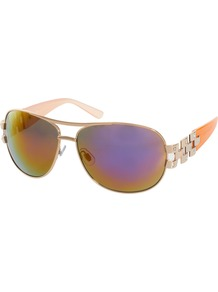 Sienna Aviator Sunglasses - predominant colour: gold; occasions: casual, evening, work, occasion, holiday; style: aviator; size: large; material: plastic/rubber; embellishment: studs; pattern: plain; trends: metallics; finish: metallic