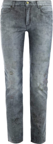 Floral Faded High Waisted Skinny Jeans - style: skinny leg; length: standard; pocket detail: traditional 5 pocket; waist: mid/regular rise; predominant colour: denim; occasions: casual; fibres: cotton - 100%; jeans detail: washed/faded; texture group: denim; pattern type: fabric; pattern size: standard; pattern: patterned/print
