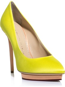 Debonaire Neon Shoes - predominant colour: yellow; occasions: evening, work, occasion; material: satin; heel height: high; heel: platform; toe: pointed toe; style: courts; trends: fluorescent; finish: plain; pattern: plain